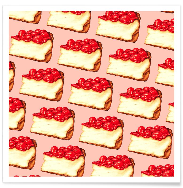 Cherry Cheesecake Pattern Pink -Poster