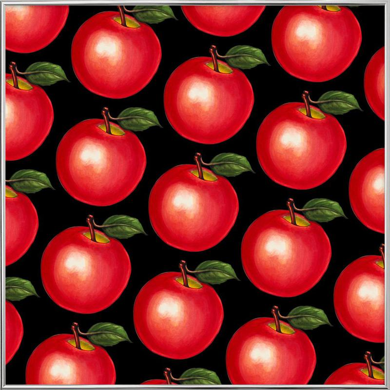 Lunch Patterns Apple Black -Poster im Alurahmen