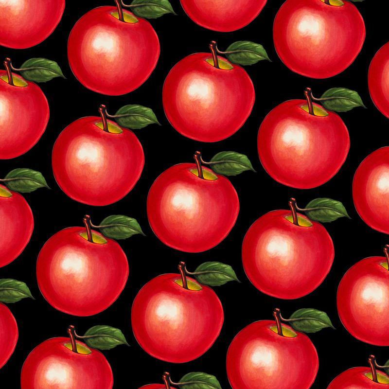 Lunch Patterns Apple Black Canvas Print