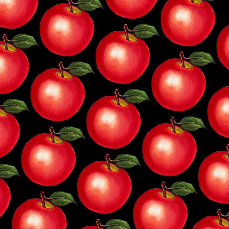 Lunch Patterns Apple Black -Acrylglasbild