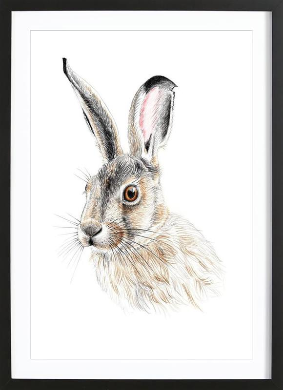 Rabbit -Bild mit Holzrahmen