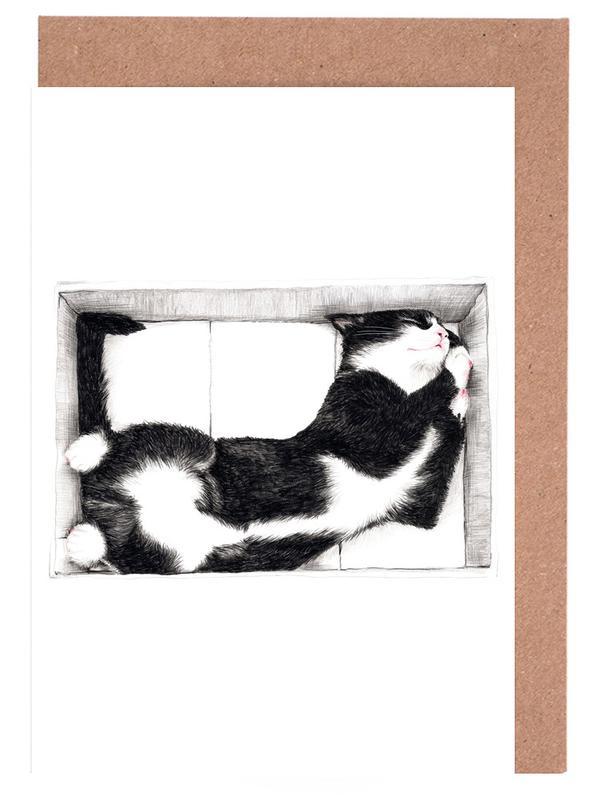 Katze im Karton Greeting Card Set
