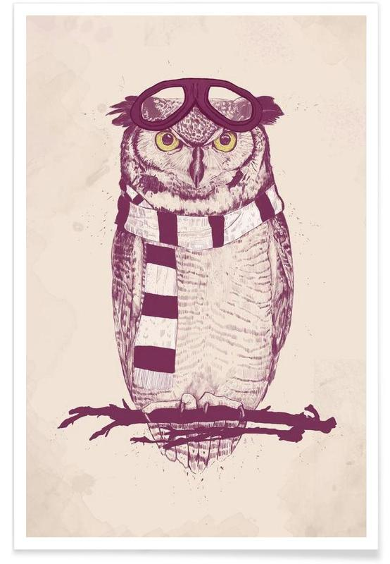 Aviator Owl Drawing Poster