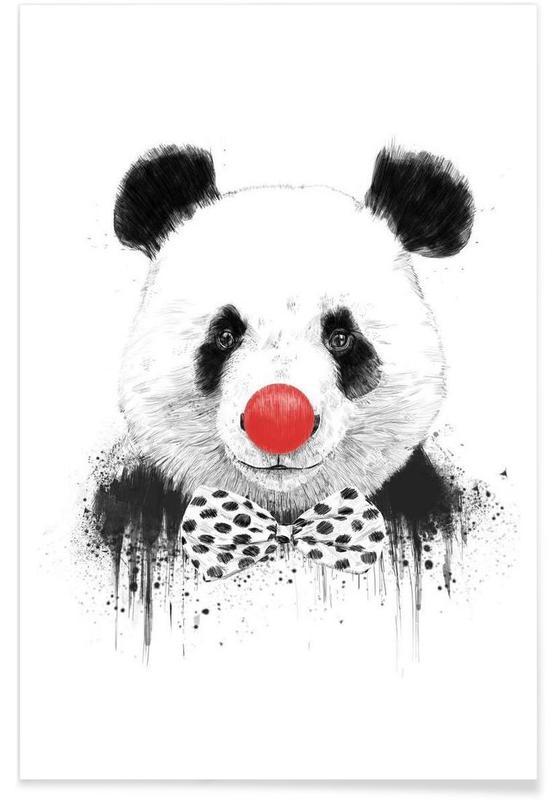 Clown Panda Drawing Poster