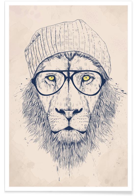 Coole leeuw - tekening poster
