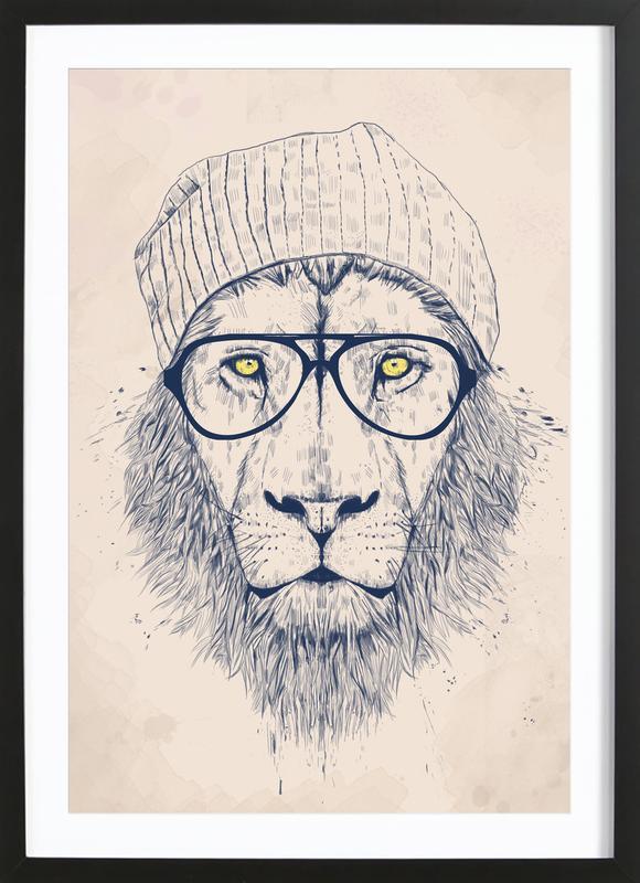 Cool lion -Bild mit Holzrahmen