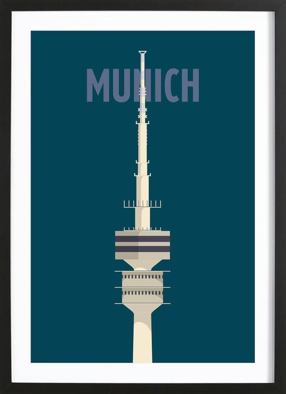 Munich -Bild mit Holzrahmen