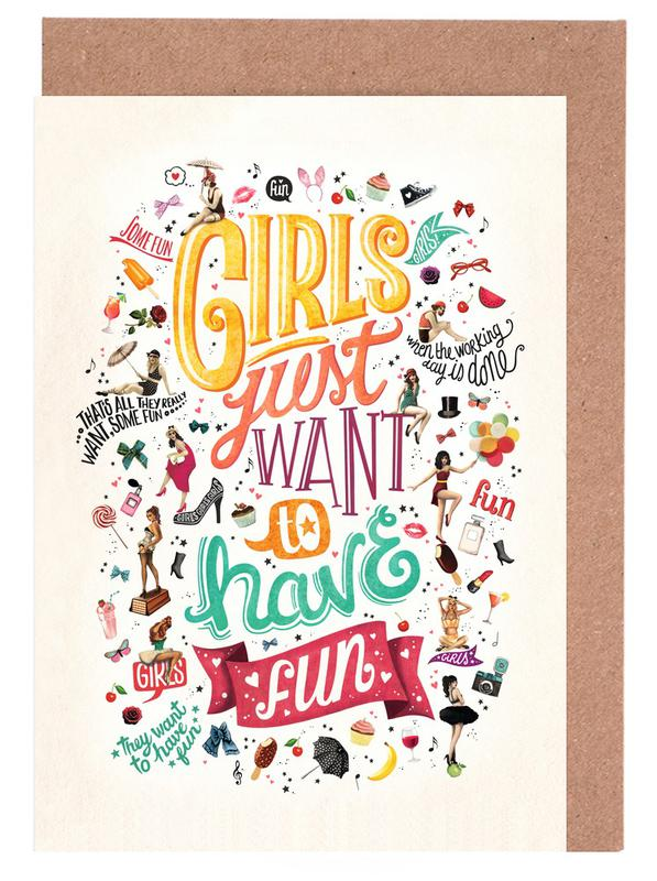 Girls Just Want to Have Fun - Draw Me A Song Project -Grußkarten-Set