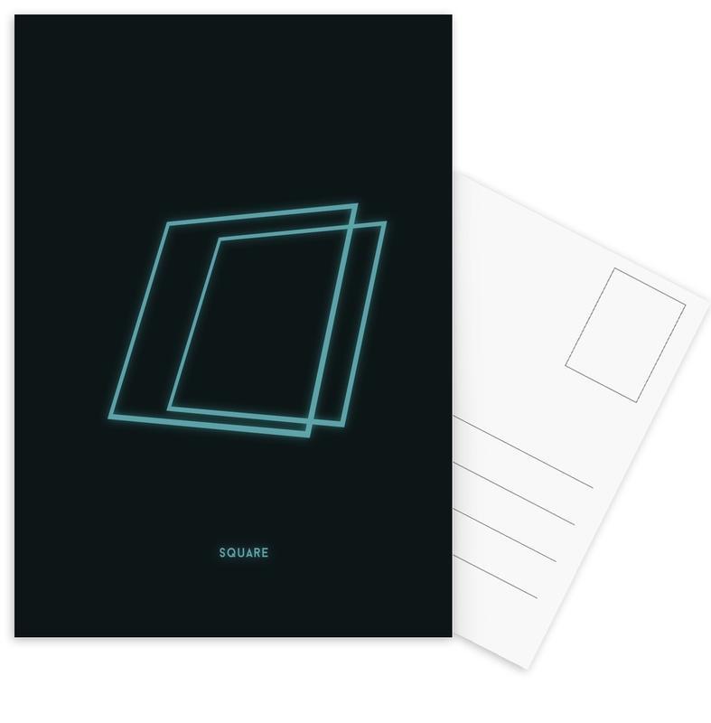 Neon Square Postcard Set