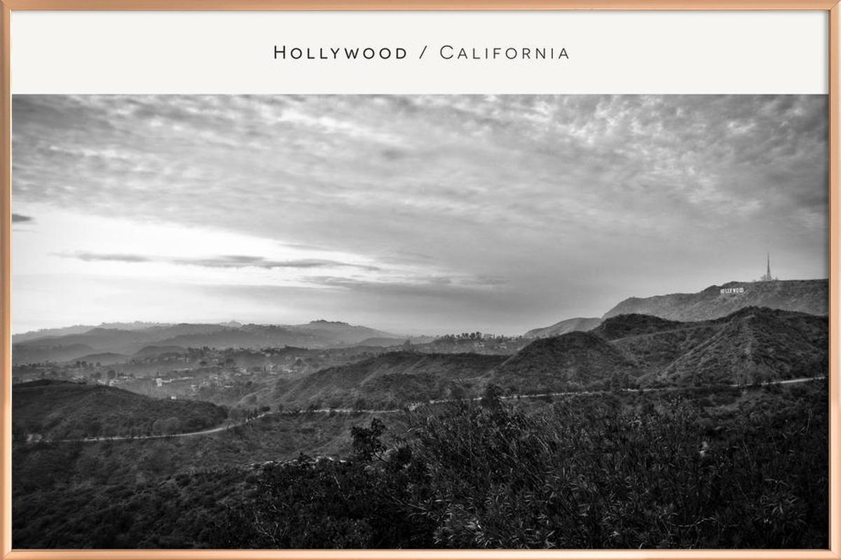 Hollywood B&W Poster in Aluminium Frame