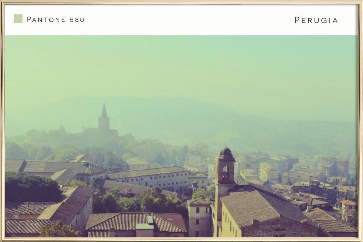 Perugia Pantone 580 Poster in Aluminium Frame