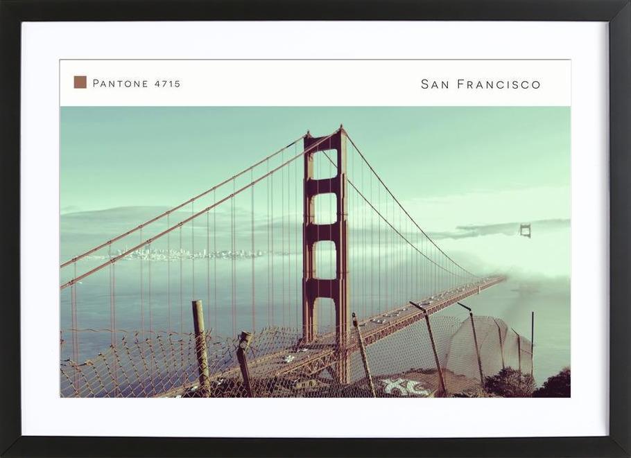 San Francisco Pantone 4715 affiche sous cadre en bois