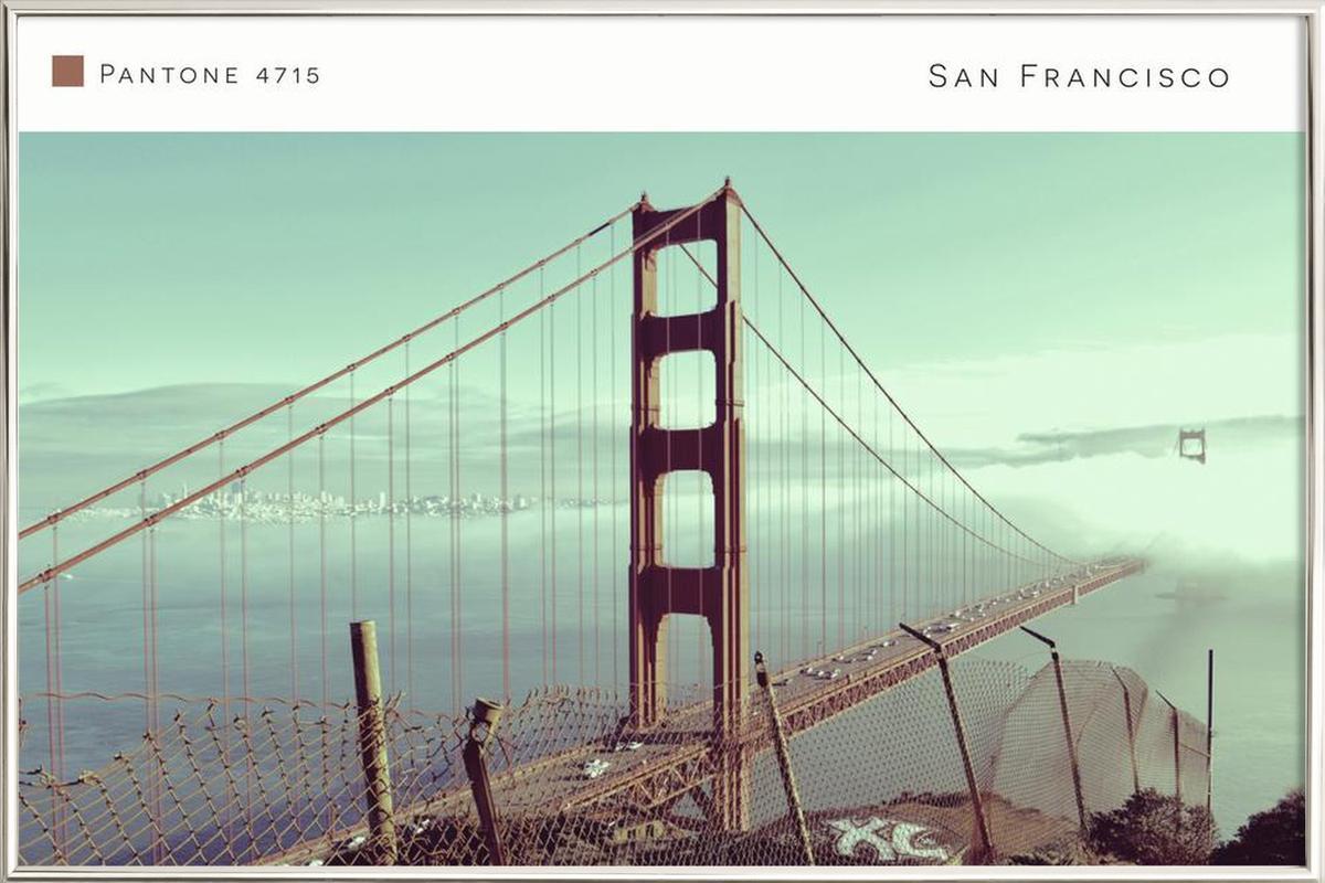 San Francisco Pantone 4715 Poster in Aluminium Frame
