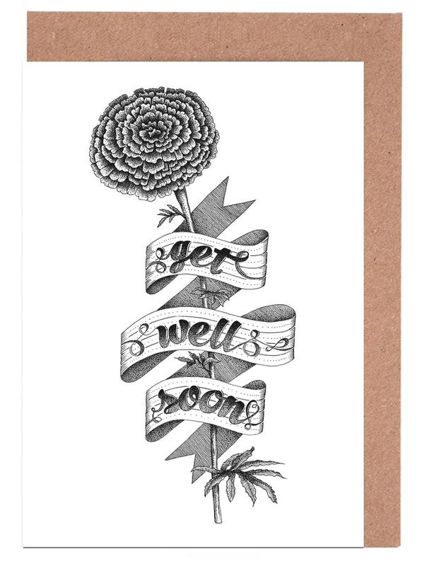 Get well soon hand-lettering -Grußkarten-Set