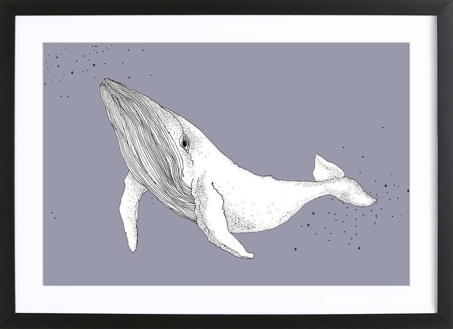 Whale affiche sous cadre en bois