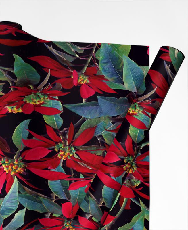 Painted Christmas Poinsettias Gift Wrap
