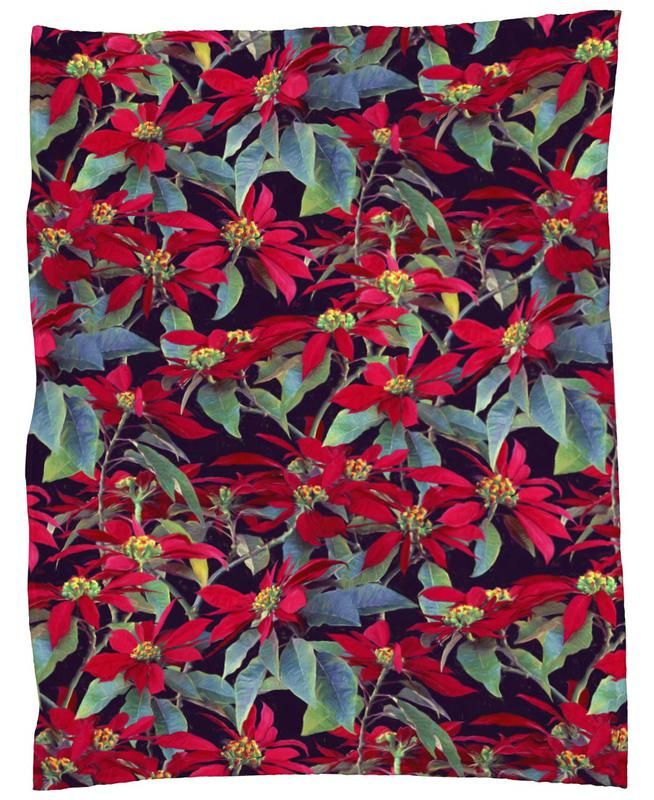 Painted Christmas Poinsettias Fleece Blanket