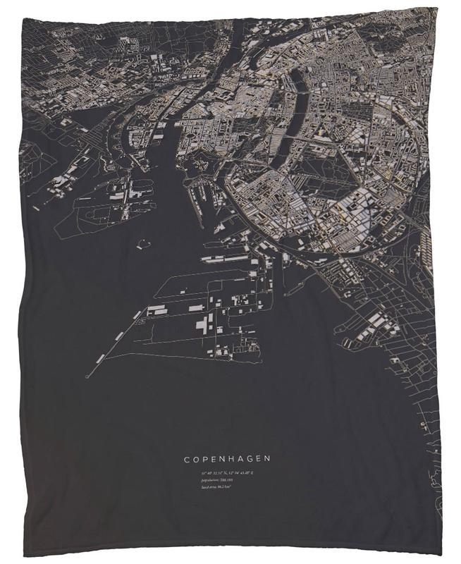 Copenhagen City Map Fleece Blanket