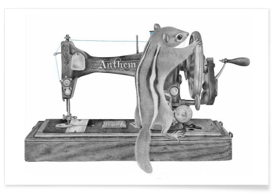 Sewing Machine Drawing Poster