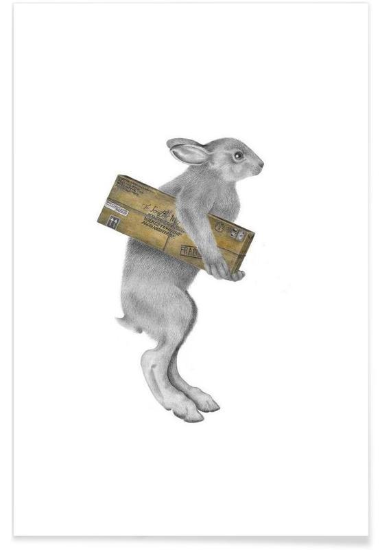 Rabbit Drawing Poster