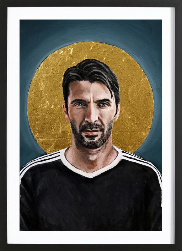 Football Icon - Buffon affiche sous cadre en bois
