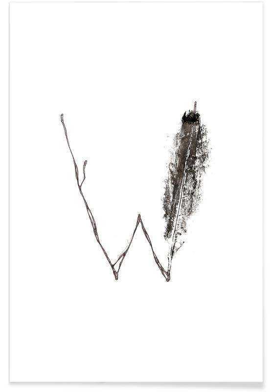 Leaf Alphabet Letter W Poster