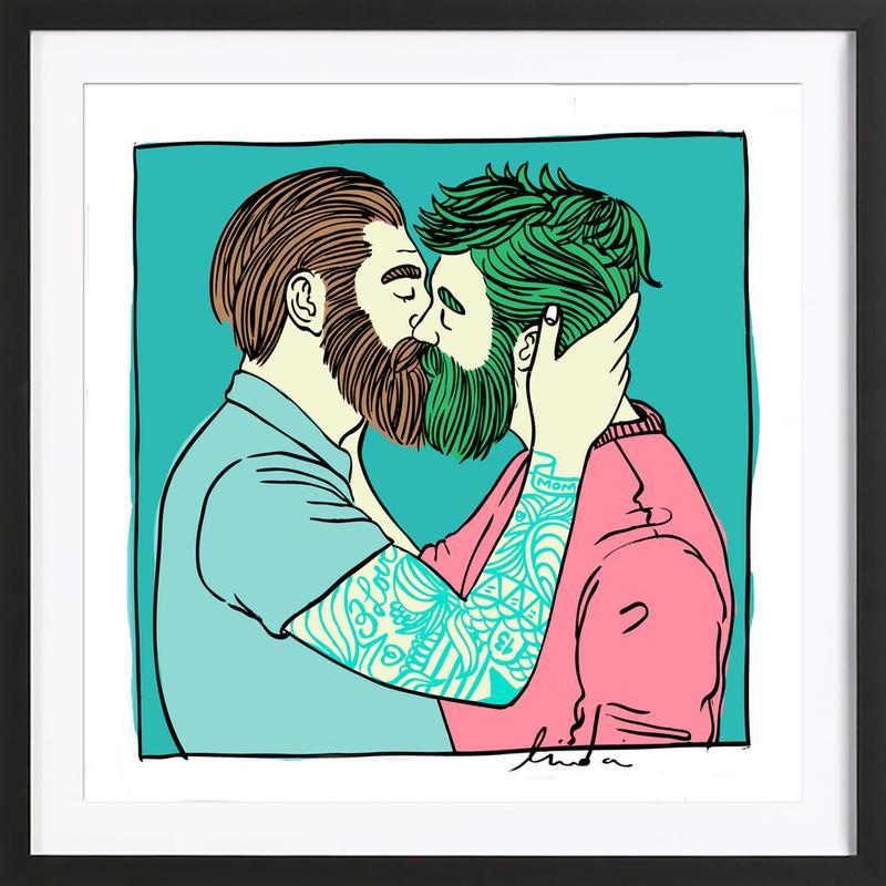 Men Kiss 2 ingelijste print