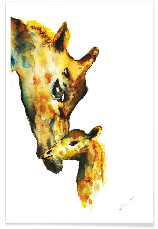 Giraffes Watercolour Poster
