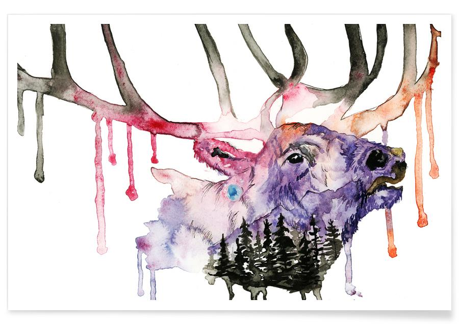 Deer Watercolour Poster