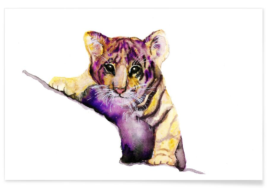 Little Tiger Watercolour Poster