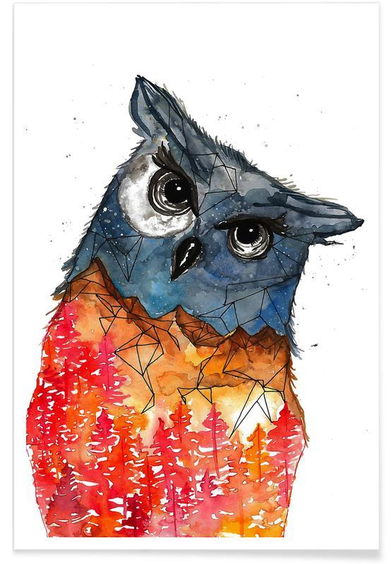 Owl Watercolour Poster