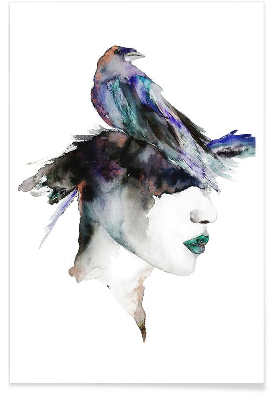 Bird Lady Watercolour Poster