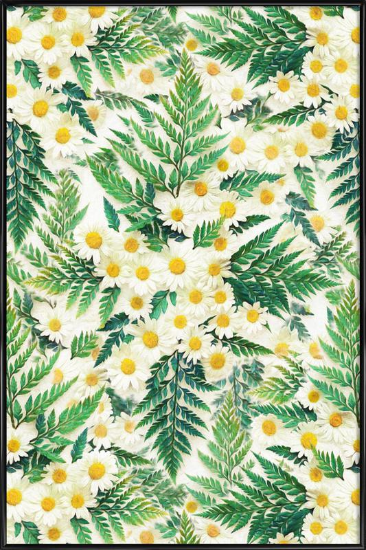 Textured Vintage Daisy And Fern Framed Poster