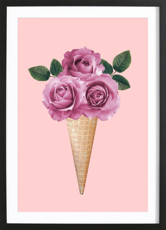 Floral Ice Cream -Bild mit Holzrahmen