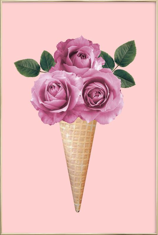 Floral Ice Cream -Poster im Alurahmen