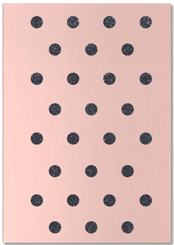Shiny Polk Dots On Pink -Notizblock