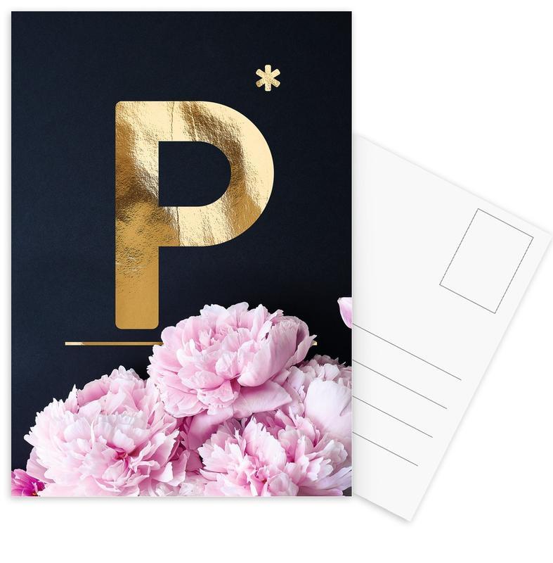 Flower Alphabet P Postcard Set