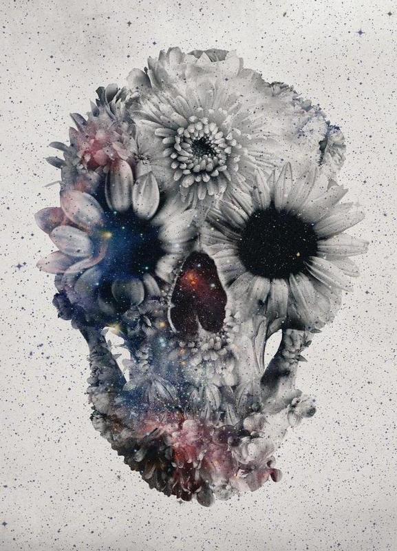 Floral skull II canvas doek