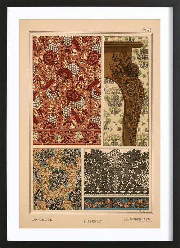 Eugene Grasset - Dandelion 45 -Bild mit Holzrahmen