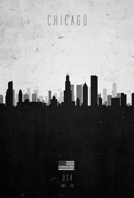 Chicago Contemporary Cityscape Impression sur alu-Dibond