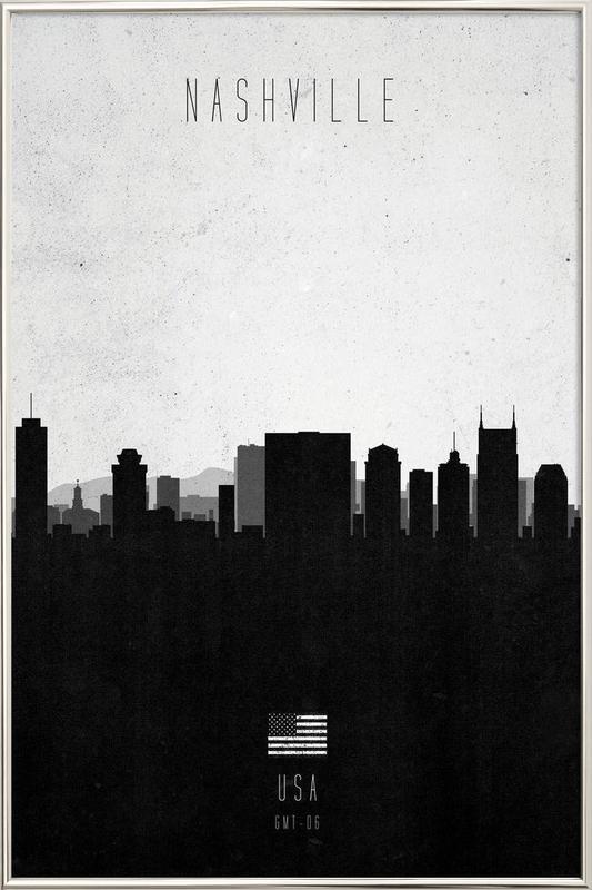 Nashville Contemporary Cityscape Poster in Aluminium Frame