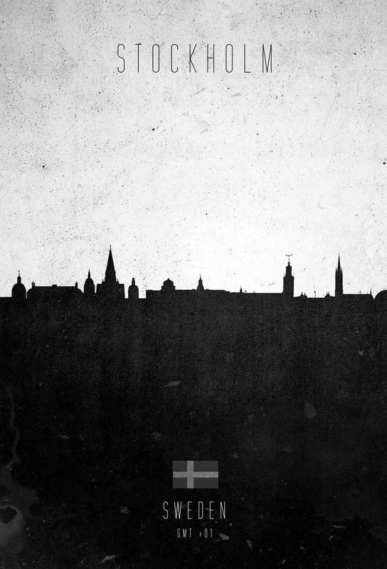Stockholm Contemporary Cityscape Impression sur alu-Dibond