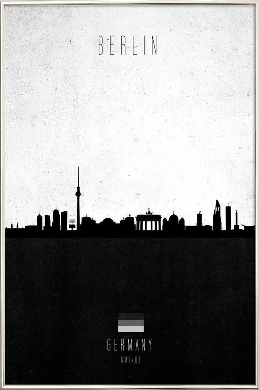 Berlin Contemporary Cityscape Poster in Aluminium Frame