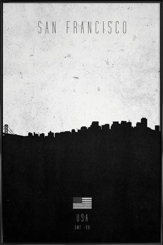 San Francisco Contemporary Cityscape -Bild mit Kunststoffrahmen