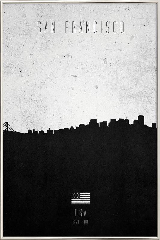 San Francisco Contemporary Cityscape -Poster im Alurahmen