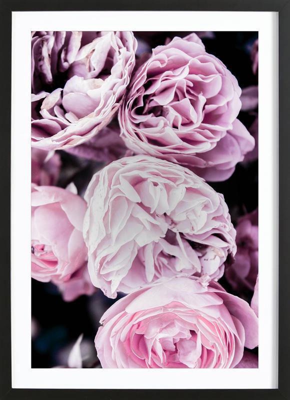 Pink flowers II affiche sous cadre en bois