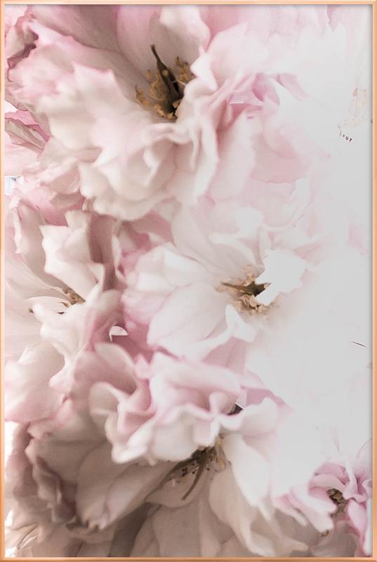Pink Flowers affiche sous cadre en aluminium