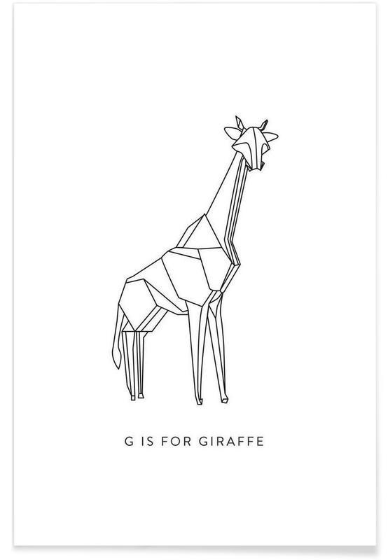 Origami Giraffe Poster
