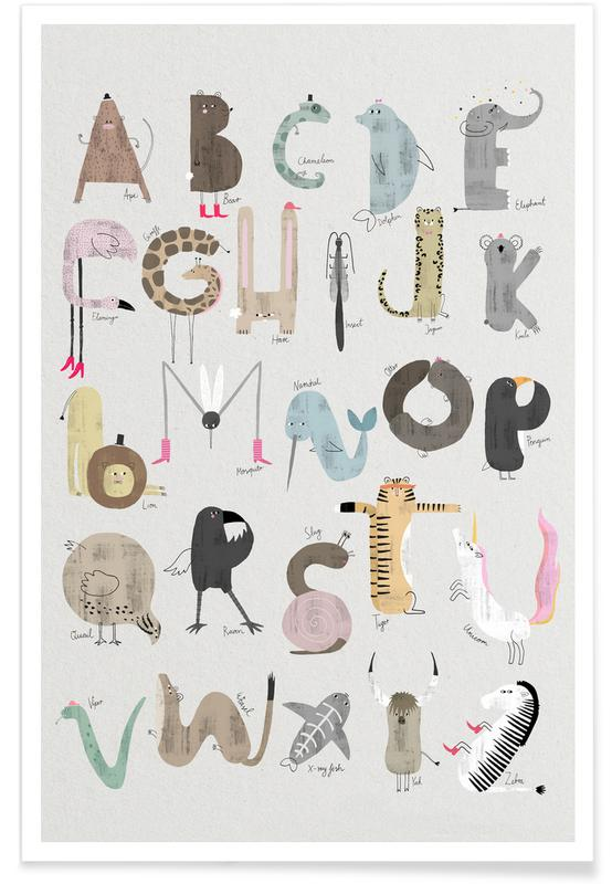 Chambre d'enfant - Alphabet des animaux affiche