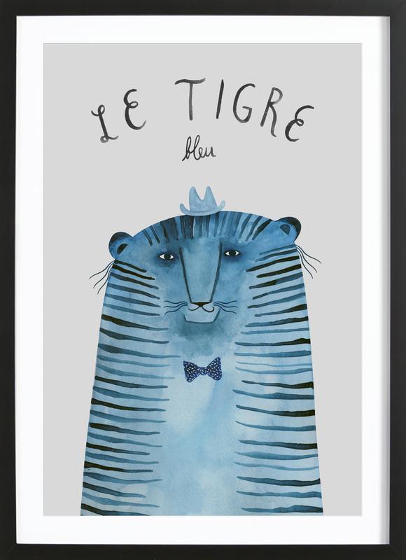 French Animals Tigre affiche sous cadre en bois